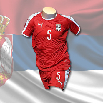 da21c2f3660 Puma kit - Serbia home jersey and shorts for World Cup 2018 with print