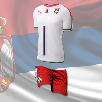 2202a1bfa Puma kit - Serbia white jersey and red shorts for World Cup 2018 ...